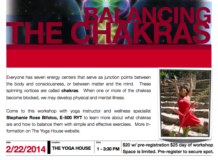Chakras Workshop, Stephanie Rose Bifolco, The Yoga House, Yoga, Kingston, NY