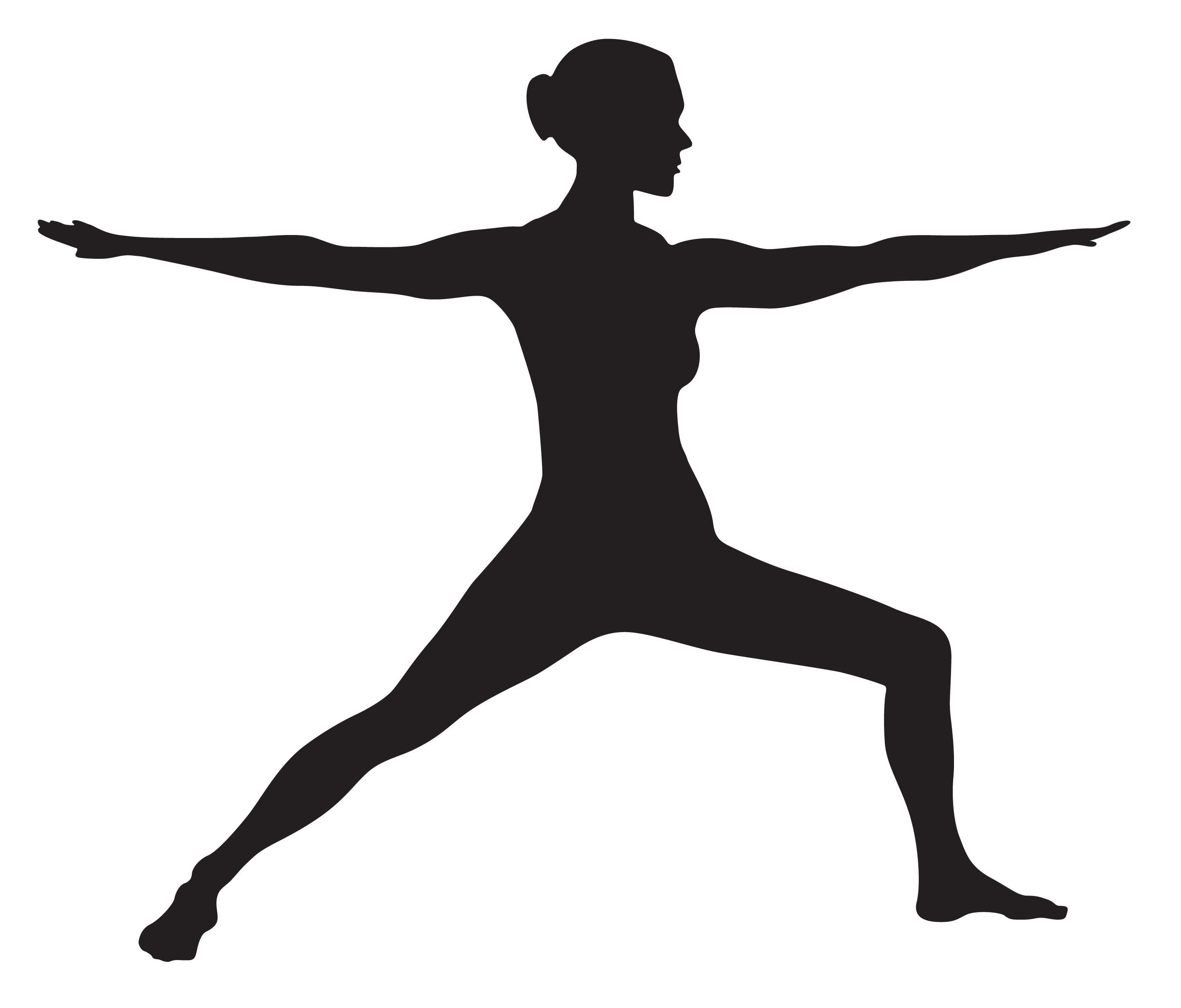 Eleven famous silhouettes of yoga positions on white ...